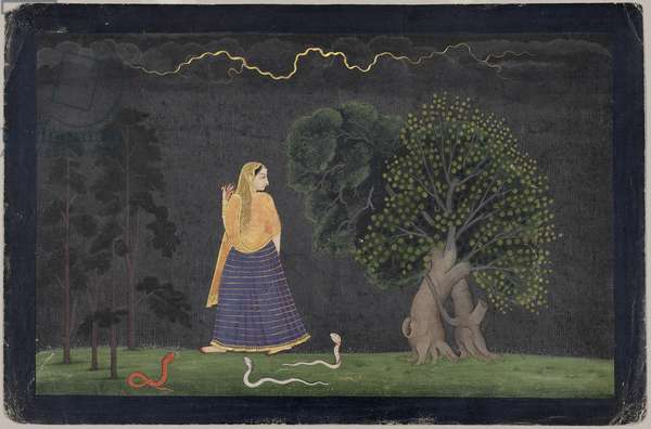 Heroine Rushing to Her Lover, from the Punjab Hills (opaque w/c & gold on paper)
