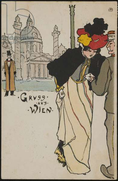 Woman receiving a letter, from the series Viennese Types, 1897-99 (colour litho)