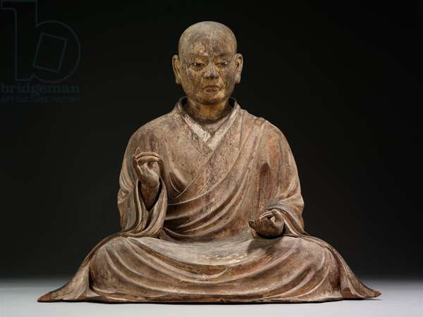 The Shinto Deity Hachiman in the Guise of a Buddhist Monk, 1328 (Japanese cypress with polychrome & inlaid crystal)
