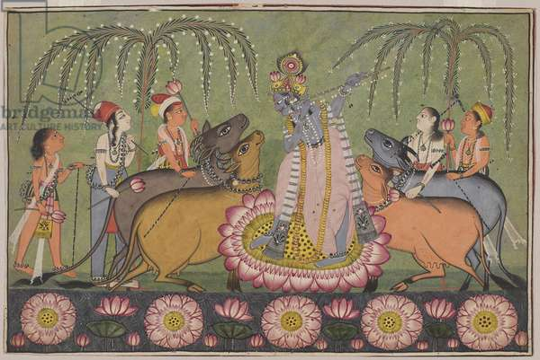 Krishna Fluting for Gopas and Cows, possibly from Jammu area, Punjab Hills, c.1700 (opaque w/c & silver on paper)