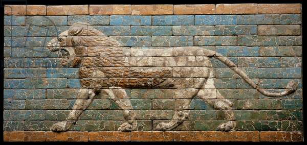 Striding lion, Babylon, Neo-Babylonian Period (glazed bricks)