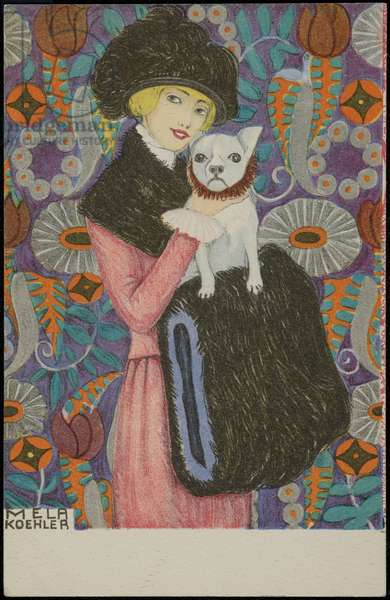 White dog with a woman in a pink fur-trimmed coat, c.1910 (colour litho)