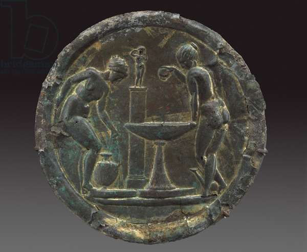 Mirror with women bathing before a statue of Aphrodite on a pillar, Imperial Period, AD 100-117 (bronze with gilding & silvering)