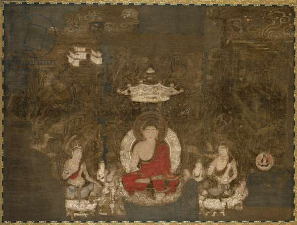 Shaka, the Historical Buddha, Preaching on Vulture Peak, Nara Period (ink, colour and gold on paper)