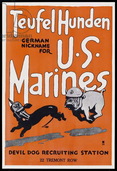 Teufel Hunden-German Nickname for U.S. Marines, 1918 (colour litho)