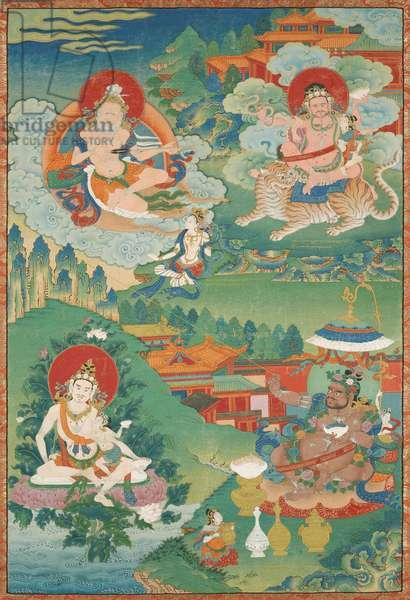The Mahasiddhas Saraha, Dombi Heruka, Naropa and Virupa (opaque w/c on cotton)
