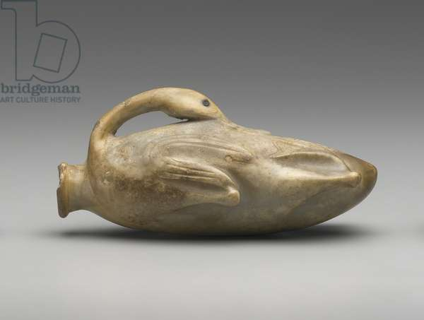 Ointment jar in the form of a trussed duck, Middle Kingdom to Second Intermediate Period, Dy, 1991-–1550 B.C. (anhydrite)