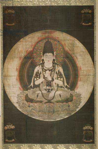 Ichiji kinrin, the Cosmic Buddha of the Golden Wheel (ink, colour, gold & silver on silk)