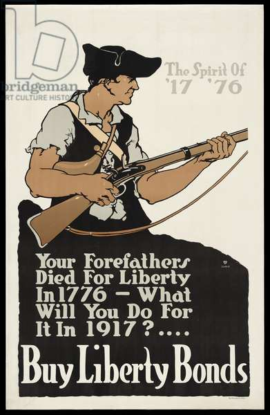 The Spirit Of '17 '76 - Your Forefathers Died For Liberty In 1776 - What Will You Do For It In 1917?.... Buy Liberty Bonds, 1917 (colour litho)