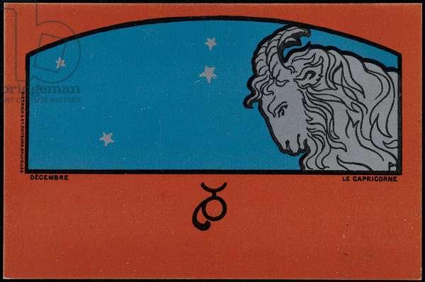December, Capricorn, 1898 (colour litho)