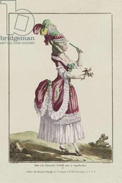 A Polonaise Dress, from 'Gallerie des Modes et Costumes Francais, 7e Cahier des Costumes Francaises, 1ere Suite d'Habillemens de Femmes de Mode', engraved by Pierre Adrien Le Beau (1748-p.1800) published by Esnauts et Rapilly, Paris, 1778 (hand-coloured engraving)
