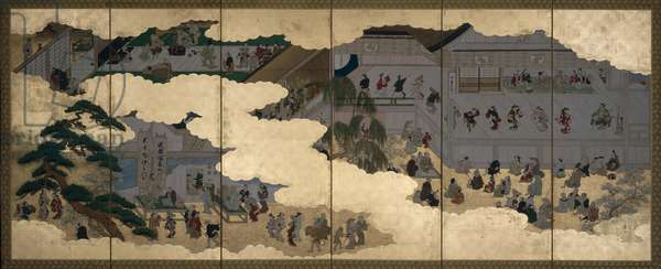 Scenes from the Nakamura Kabuki Theatre, one of a pair of six-panel folding screens, Edo period (ink & colour on gold-leafed paper) (see also 263984)