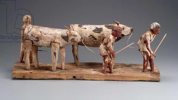 Model of men herding cattle, Middle Kingdom, late Dynasty 11 –- early Dynasty 12, 2010-–1961 B.C. (wood)