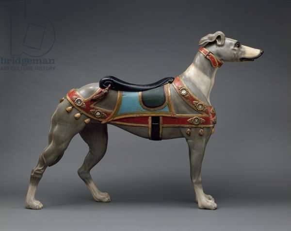 Carousel figure of a greyhound, c.1905-–10 (painted wood & glass)