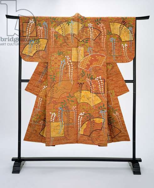 Noh costume (nuihaku) (silk embroidered with silk & stenciled with gold leaf)