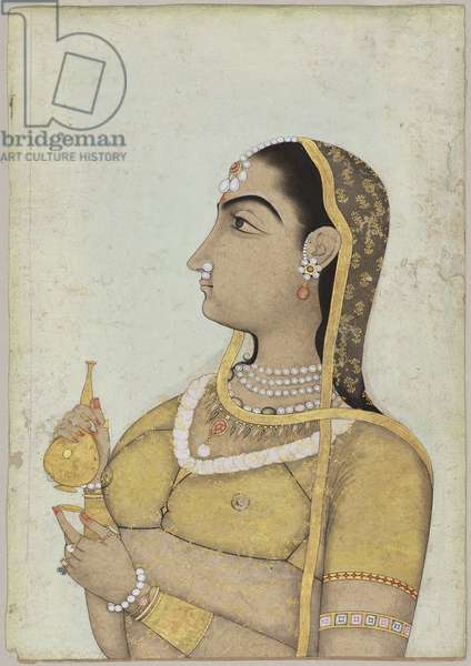 Woman Holding a Flask and Cup, from Rajasthan (opaque w/c & gold on paper)
