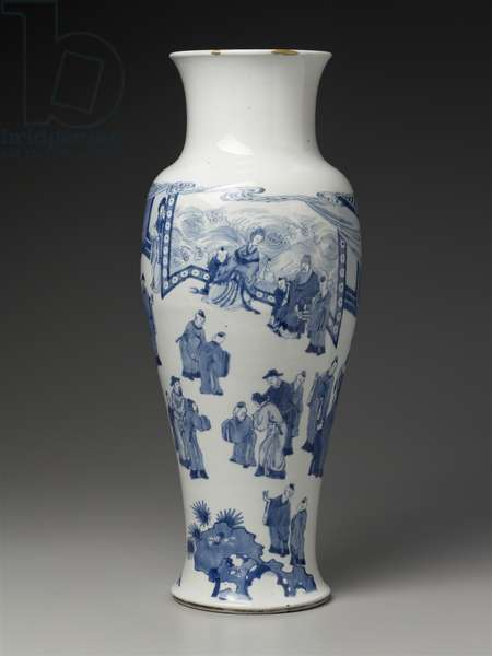 Vase with blue-and-white decoration of figures in landscape (porcelain)