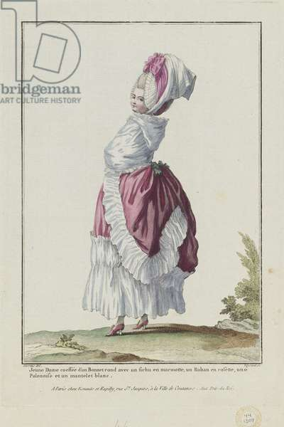 Young Lady Wearing a Round Bonnet, from 'Gallerie des Modes et Costumes Francais, 8e Cahier des Costumes Francaises, 2e Suite d'Habillemens de Femmes a la mode', engraved by Etienne Claude Voysard, published by Esnauts et Rapilly, Paris, 1778 (hand-coloured engraving)