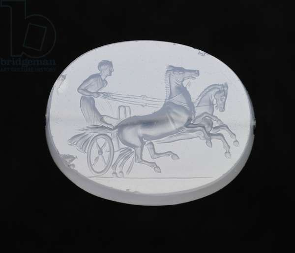 Scaraboid gem with a two-horse chariot, Classical Period, late 5th to early 4th century BC (chalcedony)