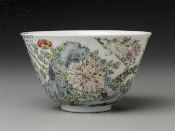 Bowl with overglaze enamel (fencai) decoration of peony, peach, and magnolia (porcelain)