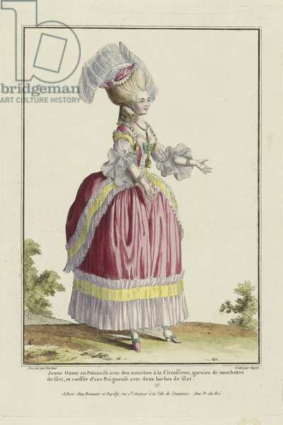 Young Lady in a Polonaise dress with sleeves in the Circassienne style, from 'Gallerie des Modes et Costumes Francais', engraved by Nicolas Dupin, published by Esnauts et Rapilly, Paris, 1778 (hand-coloured engraving)
