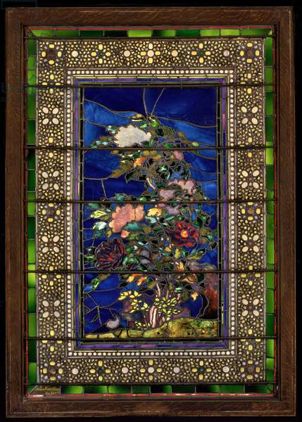 Peonies Blown in the Wind, 1886 (stained glass)