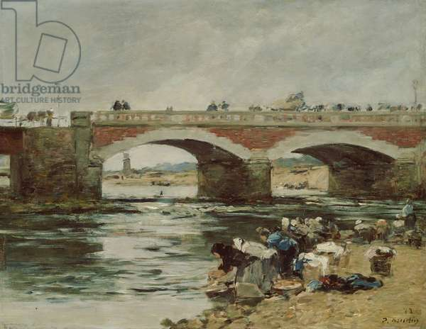 Washerwomen near a Bridge, 1883 (oil on panel)