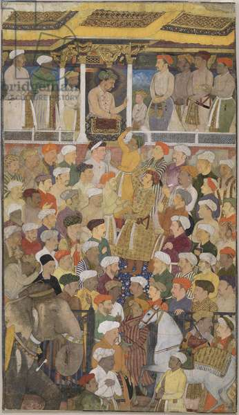 Darbar of Jahangir (1569-1627) from Northern India, c.1620 (opaque w/c & gold on paper)