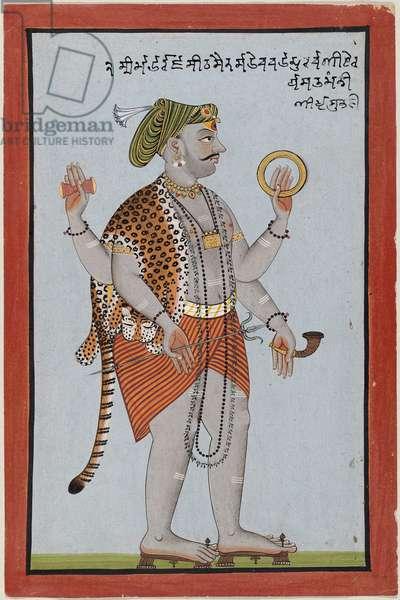 Raja Sidh Sen of Mandi as a manifestation of Shiva, c.1725 (w/c & gold on paper)