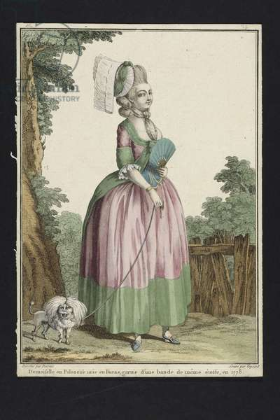 Young Woman in a Polonaise Dress, from 'Gallerie des Modes et Costumes Francais', engraved by Nicolas Dupin, published by Esnauts et Rapilly, Paris, 1778 (hand-coloured engraving) (see 263925)