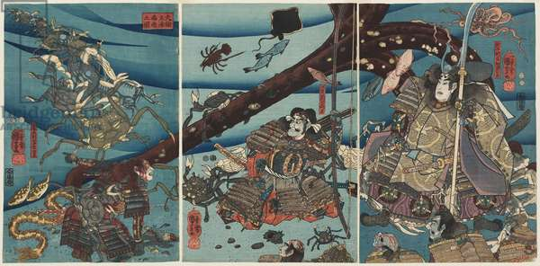 At the Bottom of the Sea in Daimotsu Bay, c.1851-52 (colour woodblock print)