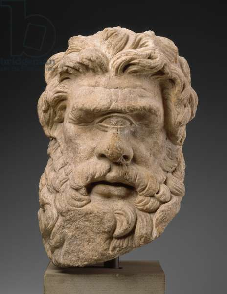 Head of Polyphemos, Late Hellenistic or Roman Period, c.150 BC or later (marble)