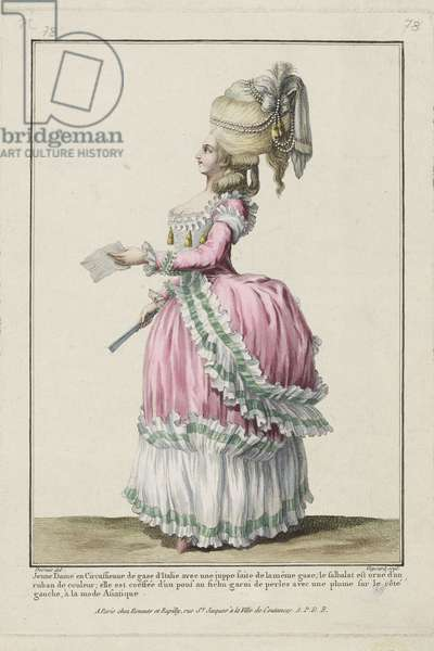 Young Lady in a Circassienne dress of Italian gauze, from 'Gallerie des Modes et Costumes Francais', engraved by Etienne Claude Voysard, published by Esnauts et Rapilly, Paris, 1778 (hand-coloured engraving) (see 263935)