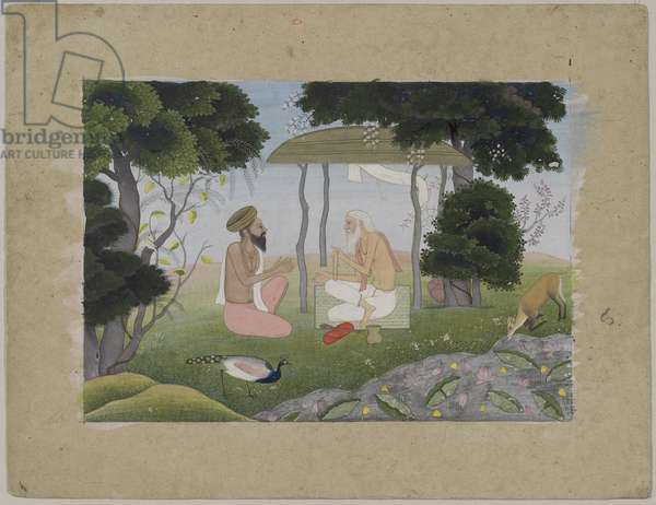 Hermitage Scene, possibly from a Devi Mahatmya series, from the Punjab Hills (opaque w/c on paper)