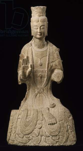Seated Bodhisattva, c.530 AD (limestone)