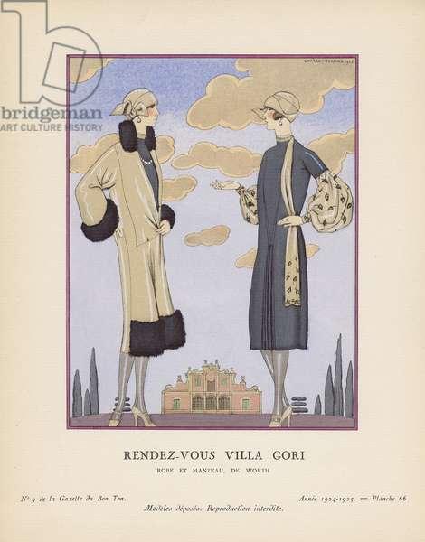 'Rendez-Vous Villa Gori - Robe et manteau, de Worth', plate 66 from Gazette du Bon Ton, no.9, 1924-25 (pochoir print)