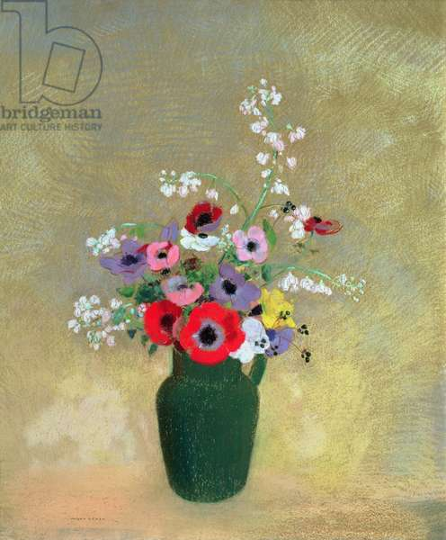 Large Green Vase with Mixed Flowers, 1910-12 (pastel on paper)