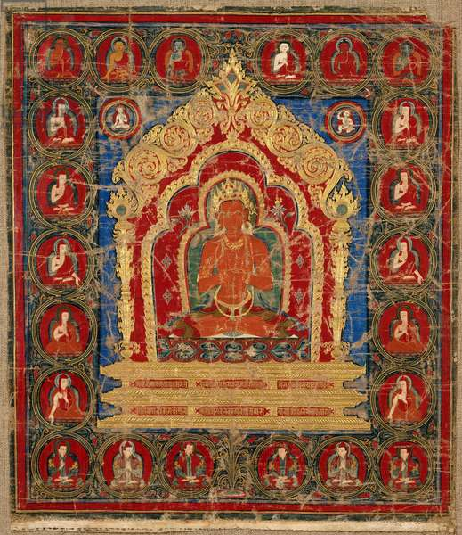 Vairocana Buddha, from Tsang Province, Central Tibet (opaque w/c on cotton)
