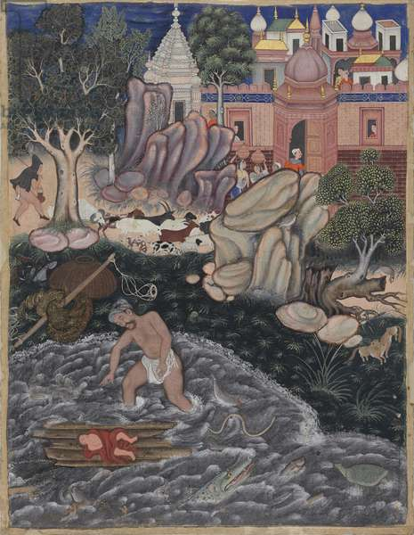 The Discovery of Alexander, Mughal period, c.1562 (opaque w/c on cotton mounted on paper)