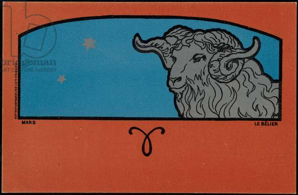 March, the Aries, 1898 (colour litho)
