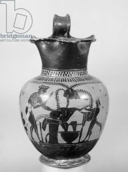 Attic Black Figure Pitcher with butcher's shop scene, Athens, Attica, Late Archaic Period (ceramic)