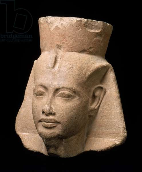 Head of King Tutankhamen, New Kingdom, Dynasty 18, reign of Tutankhamen, 1336-–1327 B.C. (sandstone)