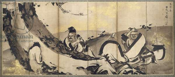 Four Sages of Mount Shang, one of a pair of six-panel folding screens, Edo Period, c.1768 (ink & gold on paper) (see also 263947)