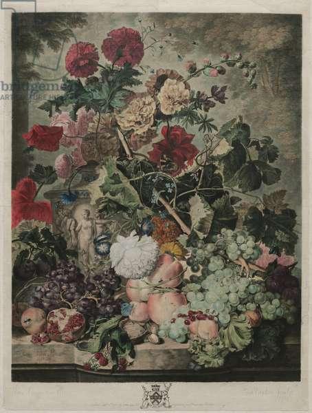 A Fruit Piece, 1781 (hand-coloured mezzotint)