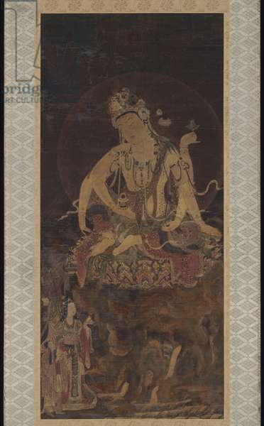 Nyoirin Kannon, the Bodhisattva of Compassion with the Wish-granting Jewel and the Magic Wheel (ink, colour, gold & silver on silk)