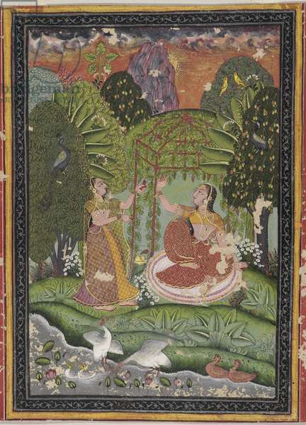 The Women in a Bower, from Bundi-Uniara, Rajasthan (opaque w/c, gold & silver on paper)