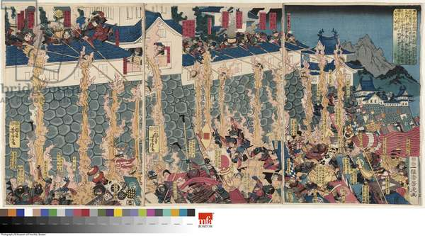 Kusunoki Masashige Holds the Castle at Chihaya, Edo period, 1847–52 (ink & colour on paper)