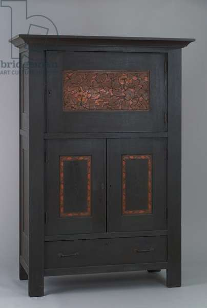 Cabinet, Byrdcliffe Arts and Crafts Colony, 1902-–05 (oak with polychrome stained & carved panels, yellow poplar and brass)
