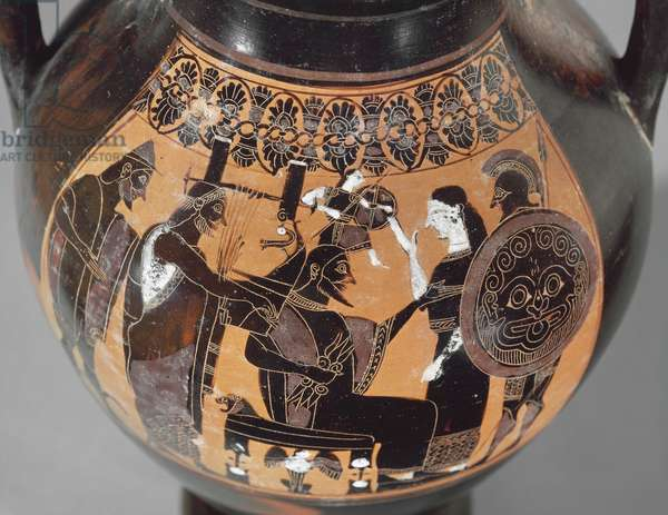 Two-handled Amphora, depicting the Birth of Athena, Archaic Period, c.540 BC (ceramic) (detail of 1153826)