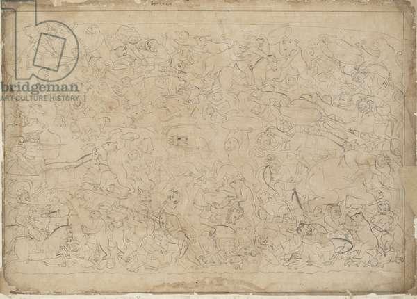 Bears and Monkeys Battle Raksasas, from Guler, Punjab Hills, c.1725 (ink on paper)